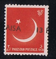 1961  Variety - Error  13 Paisa  On 1a  Pair, Strongly Misplaced Overprint    SG 127 MNH - Pakistan