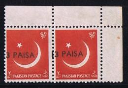 1961  Variety - Error  13 Paisa  On 1a  Pair,  Misplaced Overprint    SG 127 MNH - Pakistan