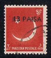 1961  Variety - Error  13 Paisa  On 1a  Pair,  Double Overprint    SG 127 Used - Pakistan