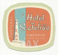CARCAVELOS - COSTA DO SOL ♦ HOTEL S. JULIÃO ♦ PORTUGAL ♦ VINTAGE LUGGAGE LABEL - Hotel Labels