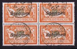 145-CI 2  Merson 2 Fr Spécimen  Oblitéré Bloc De 4  Excellent Centrage!