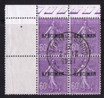 C70  Semeuse Lignée 60 C Violet  Bloc De 4 Oblitération Centrale