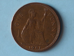 Grande-Bretagne 1 Penny 1961 - 1902-1971 : Monnaies Post-Victoriennes