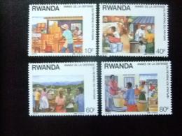 RWANDA  - REPUBLIQUE RWANDAISE  1988  - ANNÉE DE LA DEFENSE DU REVENU DU PAYSAN  Yvert  Nº 1255 / 1258 ** MNH - Rwanda