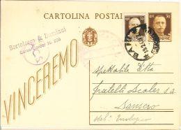 L39) LUOGOTENENZA CARTOLINA POSTALE VINCEREMO 30 CENT. DEL 1942 VIAGGIATA - Storia Postale