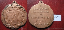 Medalla España, Exposicion Filatelica Y Numismatica Rubi, Barcelona 1965 , Token, Jeton - Professionnels/De Société