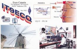 Windmill & Ham Radio Station , Valderice , Italy , 50-70s W/ Map - Unclassified