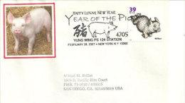 USA.  Wilbur The Pig. Année Du Cochon. Enveloppe Souvenir De New-York 2007 - Nouvel An Chinois