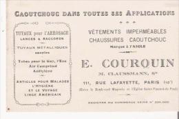 CARTE DE VISITE ANCIENNE E COURQUIN M CLAUSSMANN SUCC CAOUTCHOUC DANS TOUTES SES APPLICATIONS - Visiting Cards