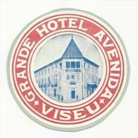 VISEU ♦ GRANDE HOTEL AVENIDA ♦ PORTUGAL ♦ VINTAGE LUGGAGE LABEL - Hotel Labels