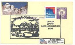 USA. Mémorial National Du Mont Rushmore. North Sioux City, Dakota Du Sud (entier Postal) - Monuments