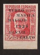 ES741s-L2124TOA-CG.España , Spain, Espagne. VUELO MANILA-MADRID.Pablo Iglesias.1936 (Ed 741s**) Con Charnela.LUJO - Otros (Aire)