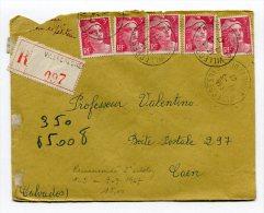 SEINE ET OISE De VILLECRESNES  Enveloppe   Recommandée  De  1947 2ième échelon - Postmark Collection (Covers)