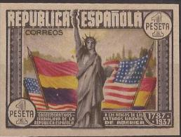 ES763s-L3934TO.Spain.Espagne. ANIVERSARIO. CONSTITUCION USA Banderas.1938 (Ed 763s**)sin Charnela.LUJO .   Tradu - Otros