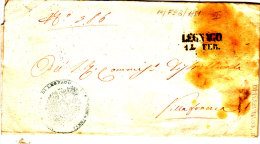 STORIA POSTALE 14-02-1851 PREFILATELICA DA LEGNAGO A VILLAFRANCA REGIO COMMISSARIO - Italia