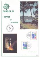 Europa 91 Espace Et Guyane Document CNES KOUROU 27-4-1991 - FDC & Commémoratifs