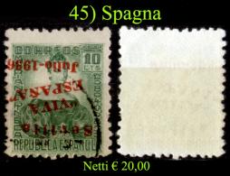 Spagna-045 - 1936 - Y&T N. 4 (o) Used - SOPRASTAMPA CAPOVOLTA - - Emissioni Nazionaliste