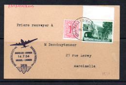 946 Sur C.P. 1er Liaison Aérienne Bruxelles – Lourdes Par Sabena - Belgique