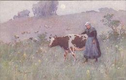 LADY WITH COW IN FIELD . J. MacLAREN . - TUCK OILETTE  3197 - Mucche
