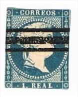 Ed. 49 Isabel II 1 Real Barrado Sin Filigrana - 1850-68 Royaume: Isabelle II