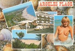 CPA 1448 CPM 66 Argeles Plage Le Petit Train La Plage Femme Blonde Topless Nue Seins Nus Nudisme Sexy Sexe Nudité - Argeles Sur Mer