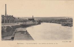 Epernay Vue Sur La Marne Ateliers Du Chemin De Fer - Epernay