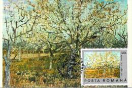 Maximum ( Maxi ) Card, Romania,  Paintiing, Vincent Van Gogh - Blossoming Fruit Trees - Impressionisme