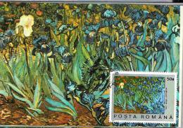 Maximum ( Maxi ) Card, Romania,  Paintiing, Vincent Van Gogh - Field Of Irises - Impressionisme