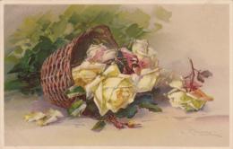 Cpa Bouquet De Roses Et Panier D'osier - Signé C. Klein - T.S.N. S. 970 ( 6 Dess.) - Klein, Catharina