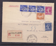 FRANCE LETTRE RECOMMANDEE AVEC 65C TYPE PAIX + DIVERSES SEMEUSES EN DATE DU 23.12.1938 - France