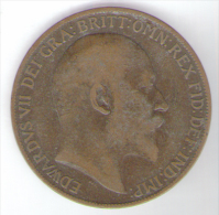 GREAT BRITAIN / GRAN BRETAGNA - EDWARD VII - 1 PENNY ( 1908 ) - 1902-1971 : Monete Post-Vittoriane