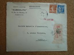 Enveloppe Recommandée Euboolith Affranchissement Composé Type Semeuse Et Type Paix Paris 69 Rue De Vouillé - Marcophilie (Lettres)