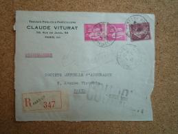 Enveloppe Recommandée Claude Viturat Affranchissement Composé Type Semeuse Et Type Paix Paris 60 Rue De La Convention - Marcophilie (Lettres)