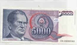 Billets - B881 - Yougoslavie   - Billet 5000 Dinara 1985 ( Type, Nature, Valeur, état... Voir 2scans) - Yugoslavia