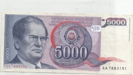 Billets - B880 - Yougoslavie   - Billet 5000 Dinara 1985 ( Type, Nature, Valeur, état... Voir 2scans) - Yugoslavia