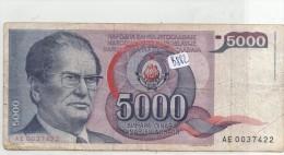 Billets - B882 - Yougoslavie   - Billet 5000 Dinara 1985 ( Type, Nature, Valeur, état... Voir 2scans) - Yugoslavia