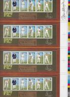 Alderney MNH Scott #105a Uncut Sheet Of 4 Souvenir Sheets Alderney Cricket Club Signed By Designer No. 1005/2000 - Alderney