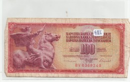 Billets - B886 - Yougoslavie   - Billet 100 Dinara 1986 ( Type, Nature, Valeur, état... Voir 2scans) - Yugoslavia