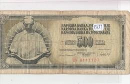 Billets - B889 - Yougoslavie   - Billet 500 Dinara 1981 ( Type, Nature, Valeur, état... Voir 2scans) - Yugoslavia