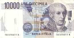 BILLETE DE ITALIA DE 10000 LIRAS DEL AÑO 1984 SERIE TB DE VOLTA  (BANKNOTE) DIFERENTES FIRMAS - [ 2] 1946-… : República