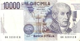 BILLETE DE ITALIA DE 10000 LIRAS DEL AÑO 1984 SERIE GK DE VOLTA  (BANKNOTE) DIFERENTES FIRMAS - [ 2] 1946-… : República