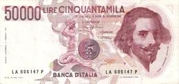BILLETE DE ITALIA DE 50000 LIRAS DEL AÑO 1984 DE LORENZO BERNINI (BANKNOTE) - [ 2] 1946-… : República