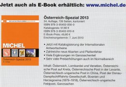 E-Book MICHEL Katalog 2013 Briefmarken Österreich Neu 50€ Bosnien Lombardei Venetien Special Catalogue Stamps Of Austria - Ed. Speciali