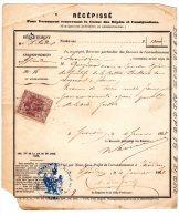 TIMBRE IMPERIAL 20c DIMENSION SUR Récépisse Versement Caisse Des Dépôts Et Consignations 1868 - Fiscaux