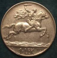 M_p> Albania 1 Lek 1931 Zecca L ( Londra )  E Firma Romagnoli Motti - Albania