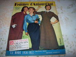 FEMMES D´AUJOURD´HUI N° 591 DU 30 AOUT 1956 AVEC PATRON - Mode
