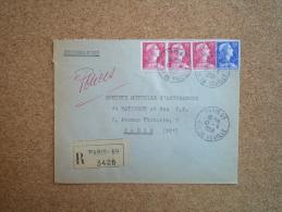 Enveloppe Recommandée Affranchissement Composé Oblitération Paris 69 Rue De Vouillé - 1921-1960: Modern Period