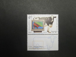 ISRAEL 1996 DAIRY CATTLE BREEDING  MINT TAB  STAMP - Unused Stamps (with Tabs)