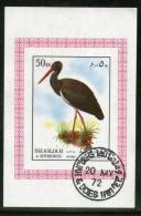 Sharjah - UAE 1972 Stork Birds Animals Fauna M/s Cancelled # 4001 - Storks & Long-legged Wading Birds