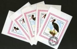 Sharjah - UAE 1972 Stork Birds Animals Fauna M/s Cancelled X 5 # 4001 - Storks & Long-legged Wading Birds